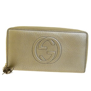 Gucci Authentic GUCCI Zipper Long Wallet Purse Leather Gold Italy Accessory