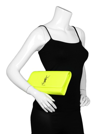 Saint Laurent Neon Smooth Leather Yellow Clutch Image 1