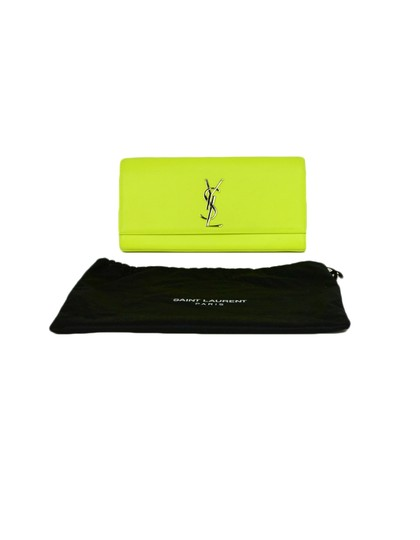 Saint Laurent Neon Smooth Leather Yellow Clutch Image 10