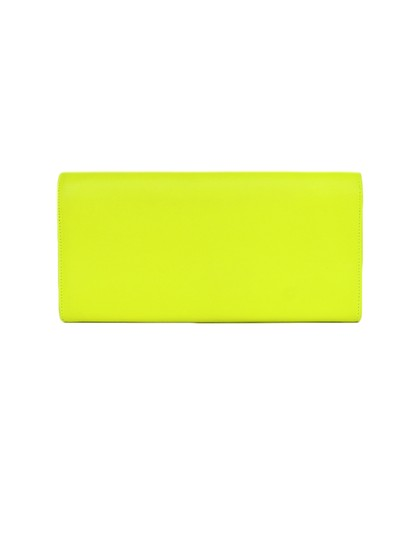 Saint Laurent Neon Smooth Leather Yellow Clutch Image 2