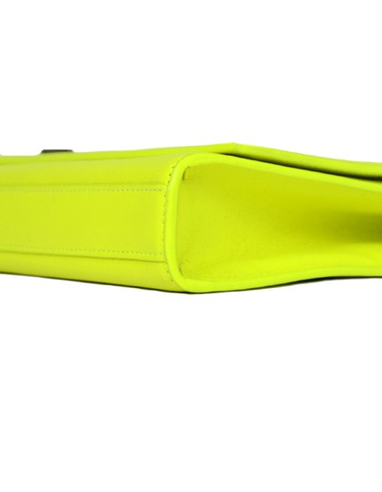 Saint Laurent Neon Smooth Leather Yellow Clutch Image 3