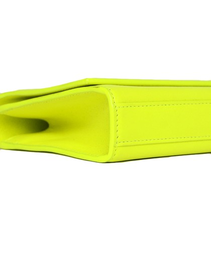 Saint Laurent Neon Smooth Leather Yellow Clutch Image 4