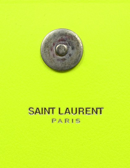 Saint Laurent Neon Smooth Leather Yellow Clutch Image 9