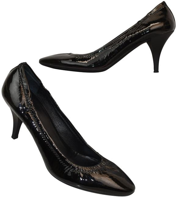 Item - Black Stitched Patent Leather Slip On Classic Italy Pumps Size EU 38 (Approx. US 8) Regular (M, B)