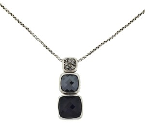 David Yurman David Yurman Chiclet Diamond, Hematite,Onyx Sterling Silver Necklace