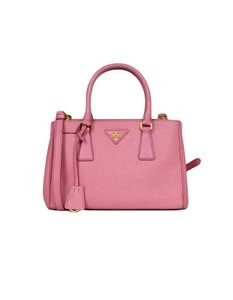 Prada Saffiano Leather Begonia Mini Double Zip Galleria Shoulder Bag