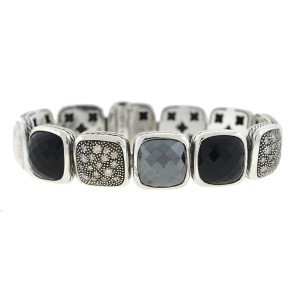 David Yurman David Yurman Chiclets One Row Diamond , Hematite ,Onyx Sterling Silver
