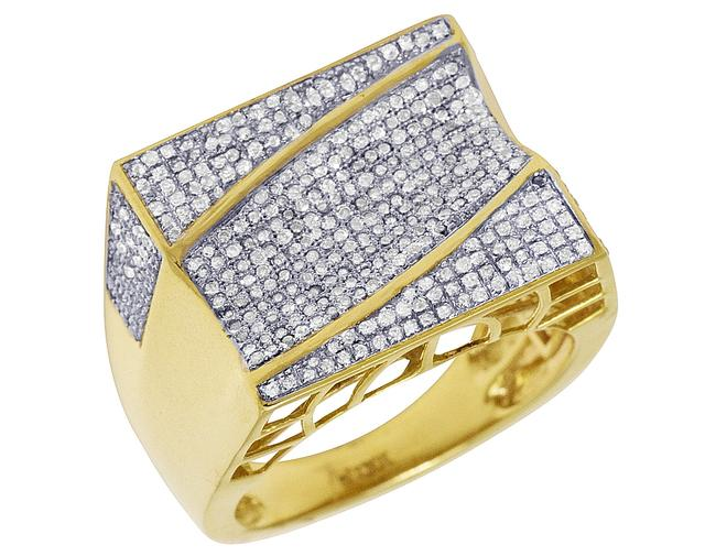 Item - Yellow Gold Mens Rectangle Wave Pave Pinky 1 Ct Ring