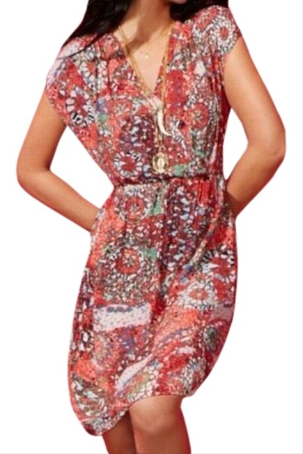 Item - Red Turquoise St. Barth's Mosaic Faux Wrap Short Casual Dress Size 8 (M)