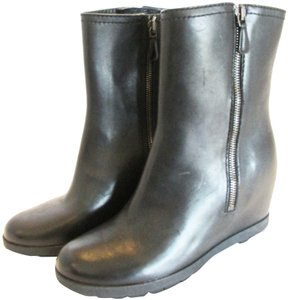 Prada Leather Wedge Ankle Covered Wedge Heel Zip Up Ankle Black Boots
