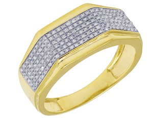 Jewelry Unlimited Men's Yellow Gold Octagon Style Diamond Pave Pinky Ring Band 0.4 CT