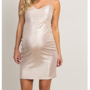 PinkBlush Gold Shimmer Cocktail Maternity Dress