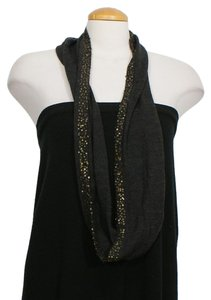 Eileen Fisher Gray Fine Merino Banded Sequins Infinity Wrap Scarf