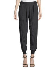 Ramy Brook Tapered Silk Joggers Trouser Pants BLACK