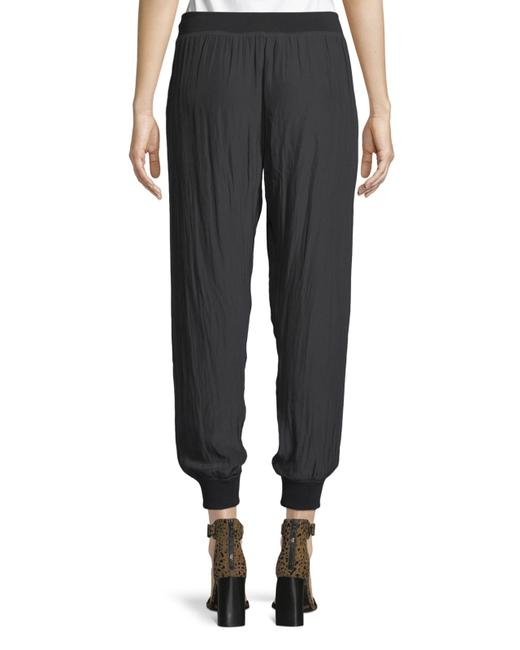 Ramy Brook Tapered Silk Joggers Trouser Pants BLACK Image 1