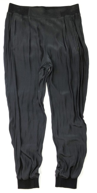 Ramy Brook Tapered Silk Joggers Trouser Pants BLACK Image 2