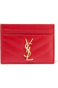Saint Laurent Red Quilted Leather Card Holder Wallet