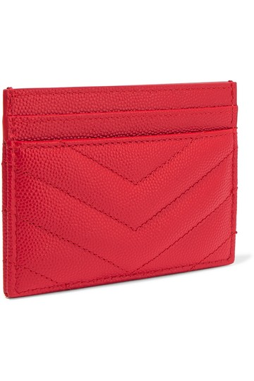 Saint Laurent Red Quilted Leather Card Holder Wallet Image 1