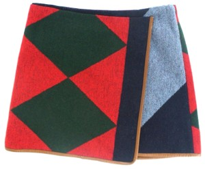 Tory Burch Wool Patchwork Skirt Navy / Green / Blue / Tan
