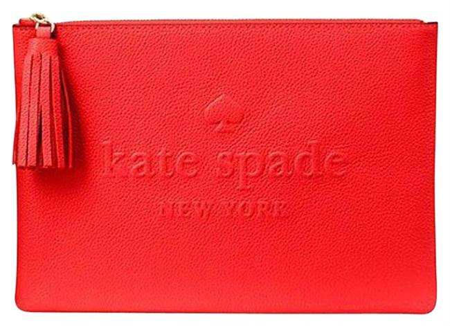 Item - Larchmont Avenue Logo Gia Picnic Red Leather Clutch