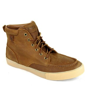 Polo Ralph Lauren Tan/Brown Tan/Brown Tedd Leather High Top Sneaker Us 7..5 Shoes