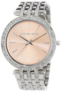 Michael Kors Darci Stainless Steel Pave Crystal Pink Champagne Dial Mk3218 Watch
