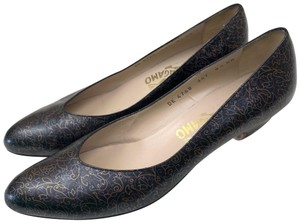 Salvatore Ferragamo Black and Metallic Pumps