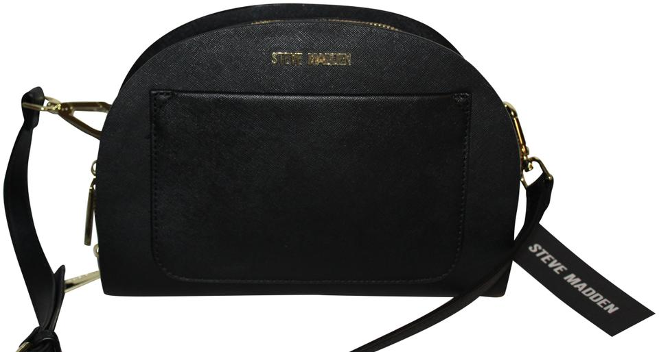 Steve Madden Crossbody Clutch Purse Black Gold Faux Leather Shoulder Bag