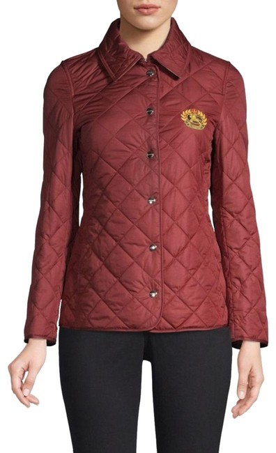 Item - Dark Red Franwell Quilted Nova Check Lined Embroidered Crest Jacket Size 4 (S)