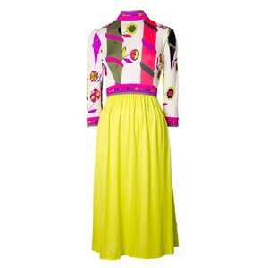 Magenta and Yellow Maxi Dress by Emilio Pucci Chartreusse Silk Vintage