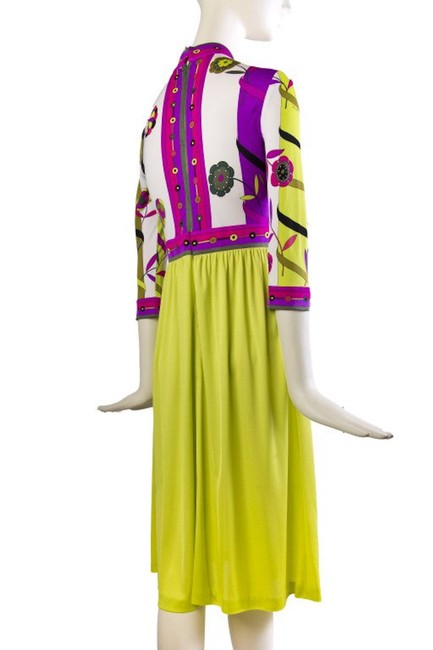 Magenta and Yellow Maxi Dress by Emilio Pucci Chartreusse Silk Vintage Image 1