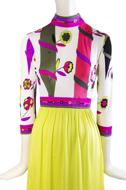 Magenta and Yellow Maxi Dress by Emilio Pucci Chartreusse Silk Vintage Image 3