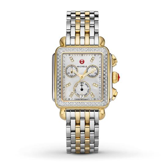 Michele Deco Two Tone Stainless Mother Of Pearl Diamond Dial Mww06p000108 Image 4