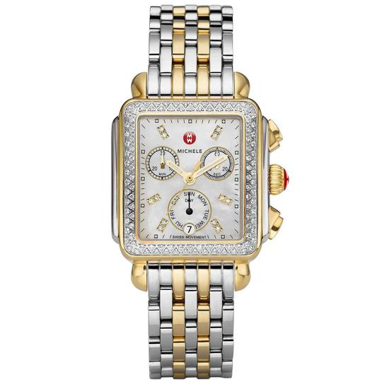 Michele Deco Two Tone Stainless Mother Of Pearl Diamond Dial Mww06p000108 Image 8