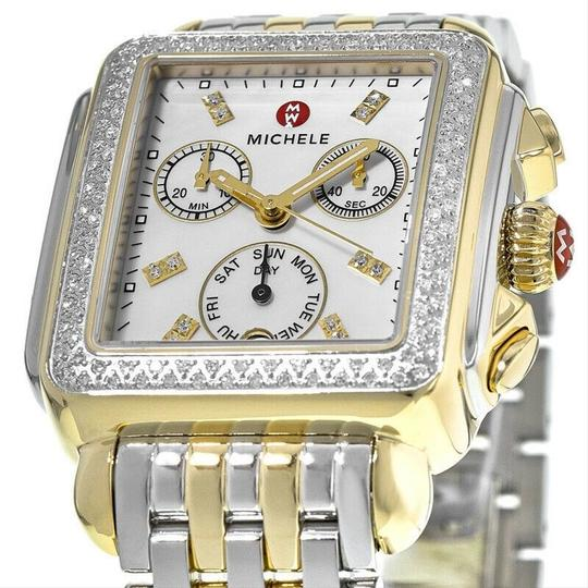 Michele Deco Two Tone Stainless Mother Of Pearl Diamond Dial Mww06p000108 Image 9