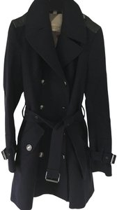 Burberry Wool Leather Double Trench Coat