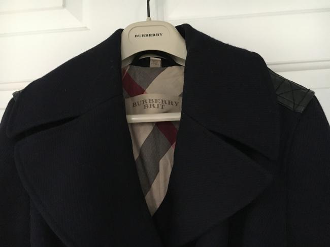 Burberry Wool Leather Double Trench Coat Image 2