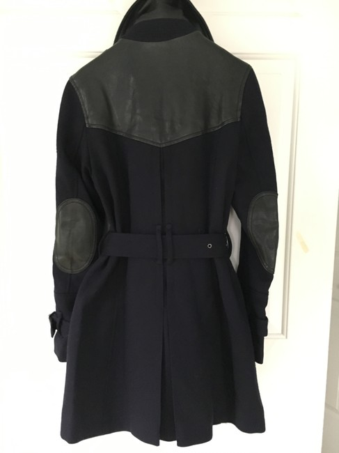 Burberry Wool Leather Double Trench Coat Image 3