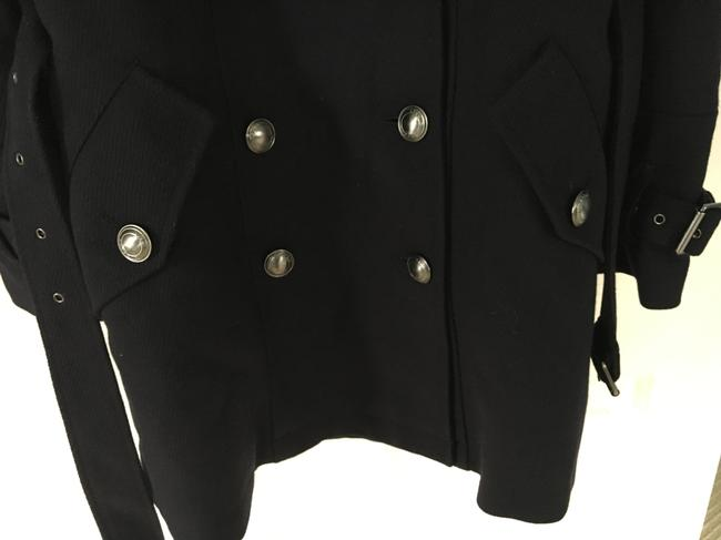 Burberry Wool Leather Double Trench Coat Image 4