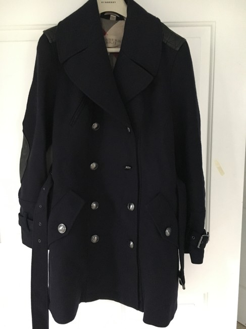 Burberry Wool Leather Double Trench Coat Image 5