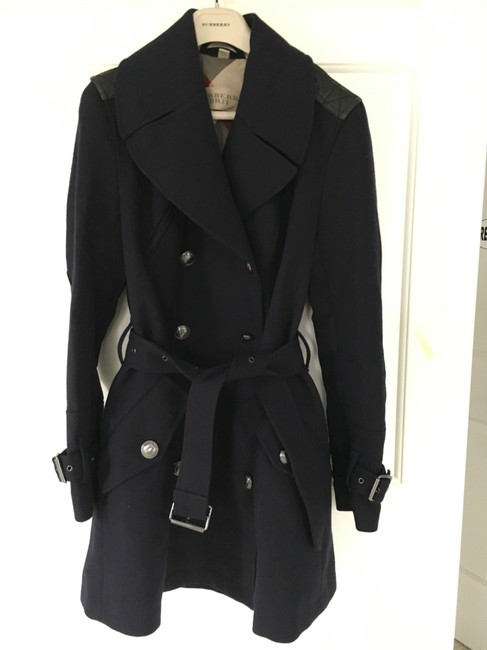Burberry Wool Leather Double Trench Coat Image 6