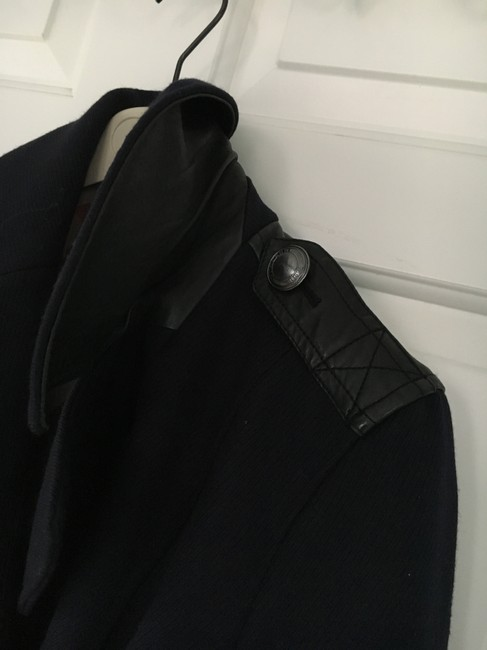Burberry Wool Leather Double Trench Coat Image 8