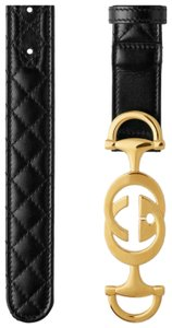 Gucci Gucci quilted leather belt with interlocking GG horsebit size 90/36