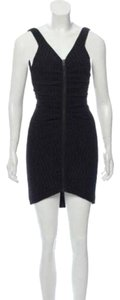 Chanel Bodycon Zip Gathered Textured Dress