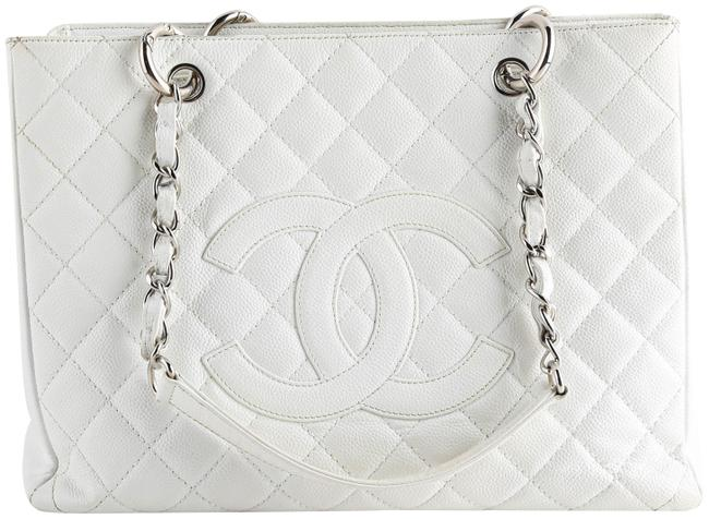 Chanel Shopping Caviar Grand Gst White Leather Tote Chanel Shopping Caviar Grand Gst White Leather Tote Image 1