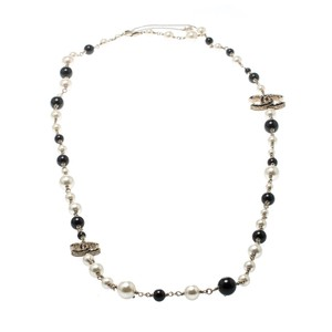 Chanel Chanel CC Faux Pearl Black Beads Gold Tone Long Necklace