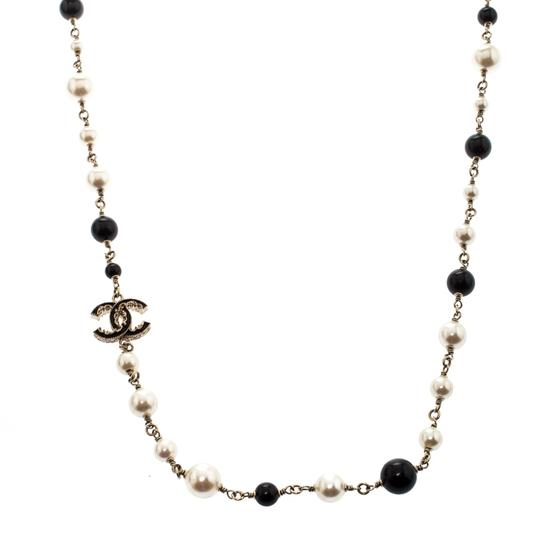 Chanel Chanel CC Faux Pearl Black Beads Gold Tone Long Necklace Image 2