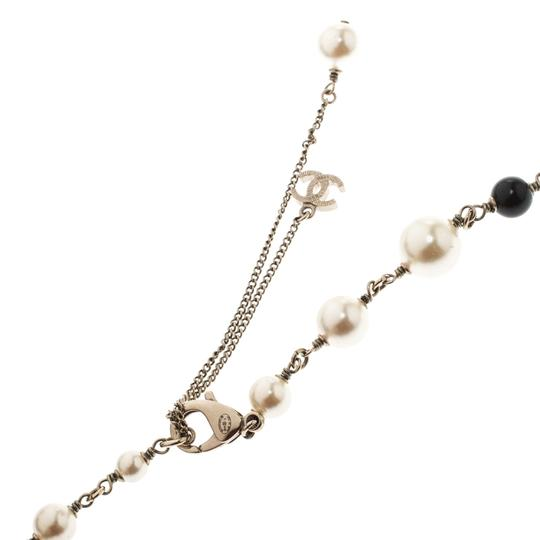Chanel Chanel CC Faux Pearl Black Beads Gold Tone Long Necklace Image 3