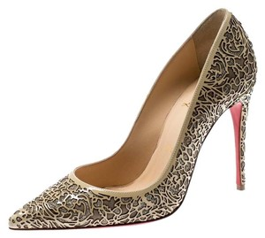 Christian Louboutin Patent Leather Glitter Pointed Toe Beige Pumps