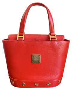 MCM Bucket Pebbled Leather Satchel in Red